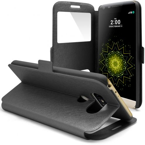 Coque Etui LG G5 Slim Folio - Window View - Noir