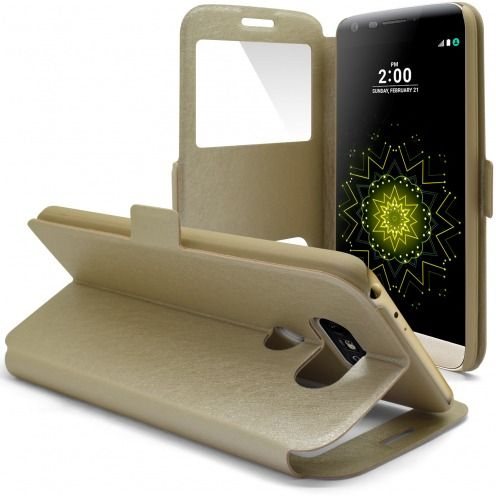 Coque Etui LG G5 Slim Folio - Window View - Or
