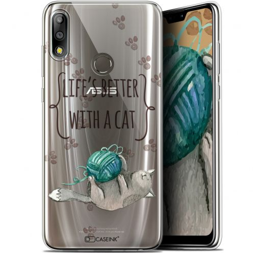 "Coque Gel Asus Zenfone Max Pro (M2) ZB631KL (6.26"") Extra Fine Quote - Life's Better With a Cat"