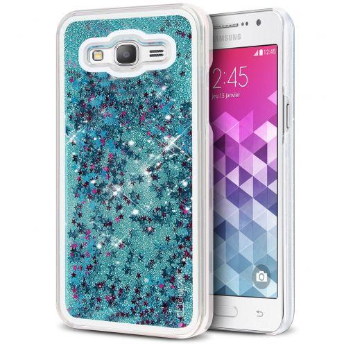 Coque Crystal Glitter Liquid Diamonds Bleu Samsung Galaxy Grand Prime