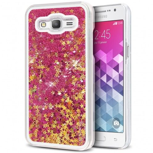 Coque Crystal Glitter Liquid Diamonds Rose Samsung Galaxy Grand Prime