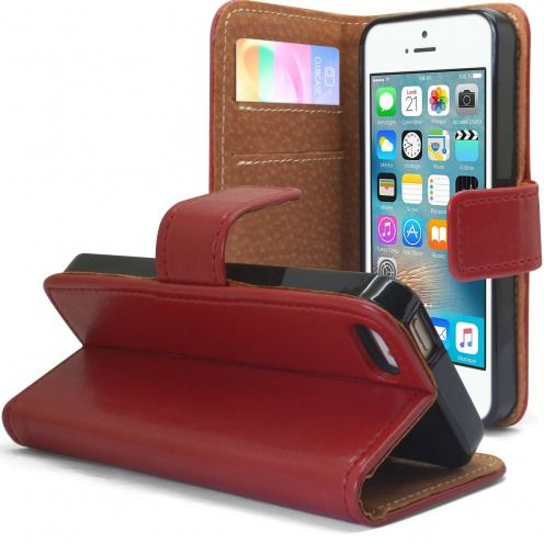 Etui Italia Folio Stand Apple iPhone 5/5S/SE Cuir Véritable Bovin Rouge