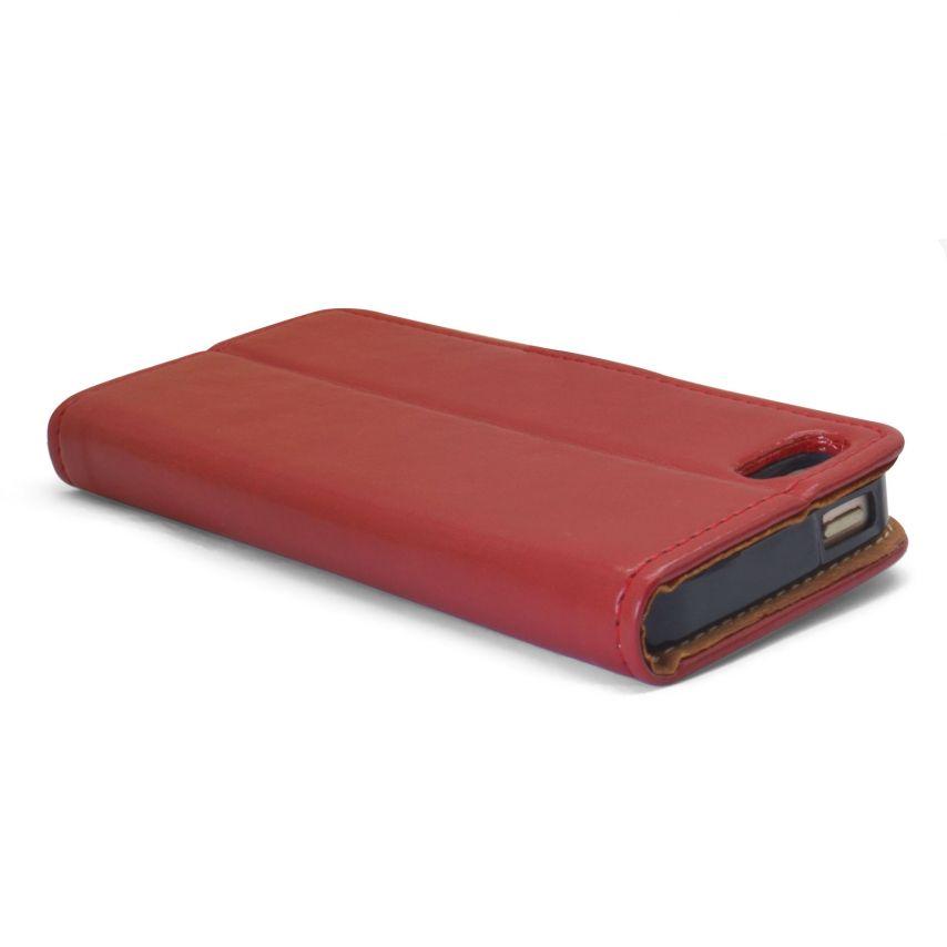 Etui Italia Folio Stand Apple iPhone 5/5S/SE Cuir Véritable Bovin Rouge