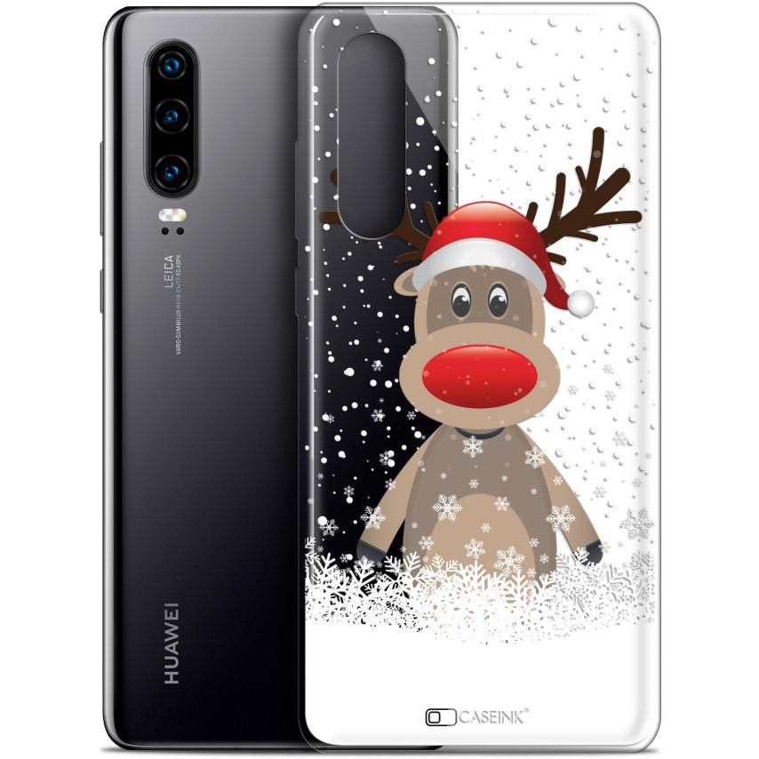 "Coque Gel Huawei P30 (6.1"") Extra Fine Noël 2017 - Cerf au Bonnet"