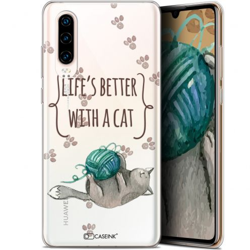"Coque Gel Huawei P30 (6.1"") Extra Fine Quote - Life's Better With a Cat"