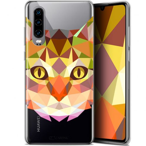 "Coque Gel Huawei P30 (6.1"") Extra Fine Polygon Animals - Chat"