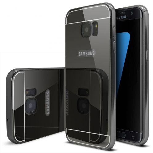 Bumper Samsung Galaxy S7 Edge Glass Mirror Aluminium Noir