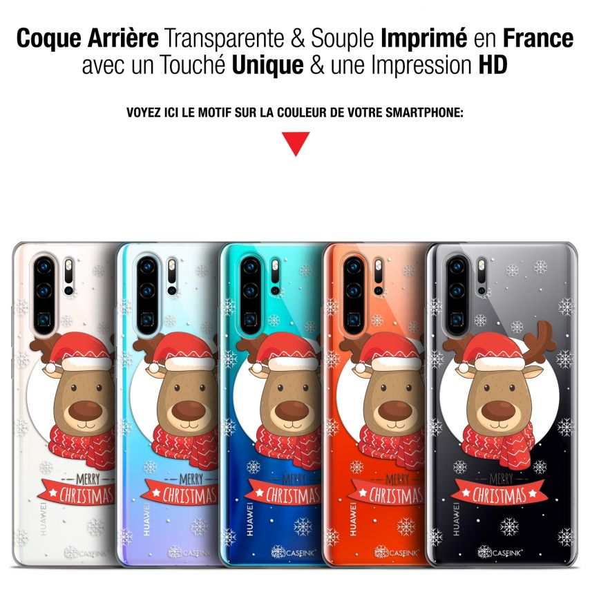 """Coque Gel Huawei P30 Pro (6.47"""") Extra Fine Noël 2017 - Cerf à Echarpe"""