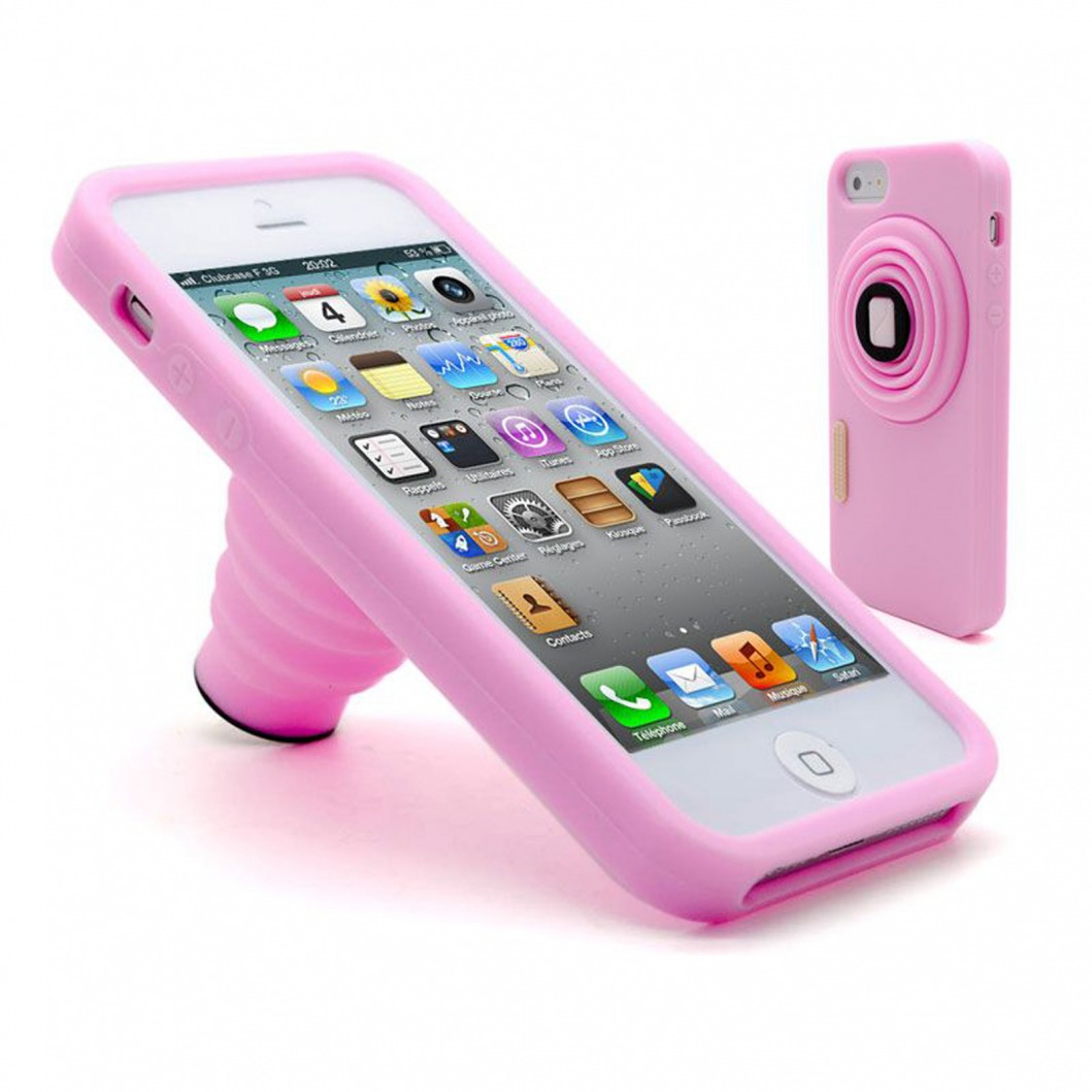 coque vintage photo stand silicone rose iphone 5. Black Bedroom Furniture Sets. Home Design Ideas