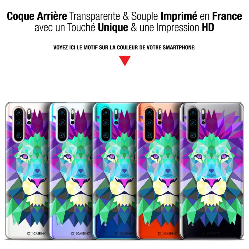 "Coque Gel Huawei P30 Pro (6.47"") Extra Fine Polygon Animals - Lion"