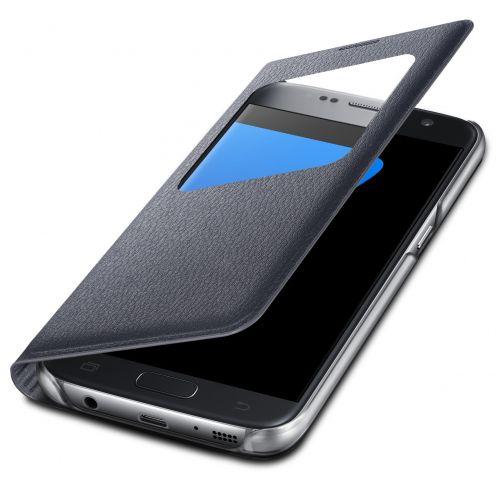 Coque Etui Samsung Galaxy S7 Flip Folio - Window View - Noir