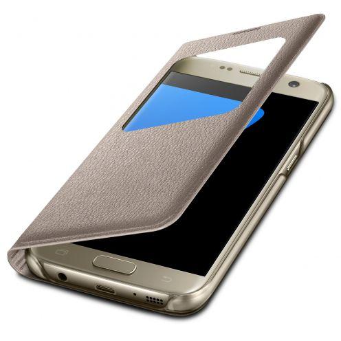 Coque Etui Samsung Galaxy S7 Flip Folio - Window View - Or