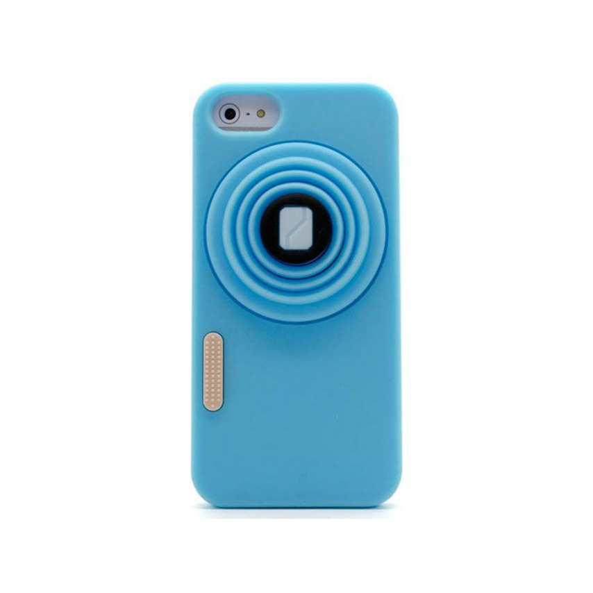 "Photo réelle de Coque iPhone 5 Vintage ""PHOTO"" Bleue"