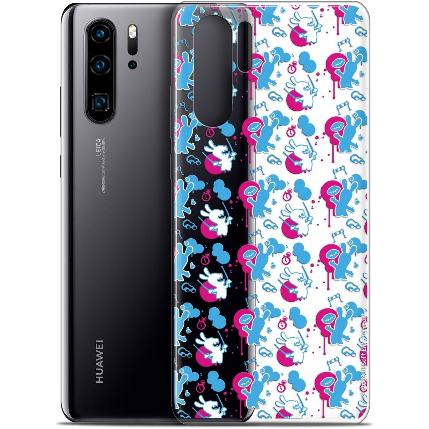"""Coque Gel Huawei P30 Pro (6.47"""") Extra Fine Lapins Crétins™ - Rugby Pattern"""