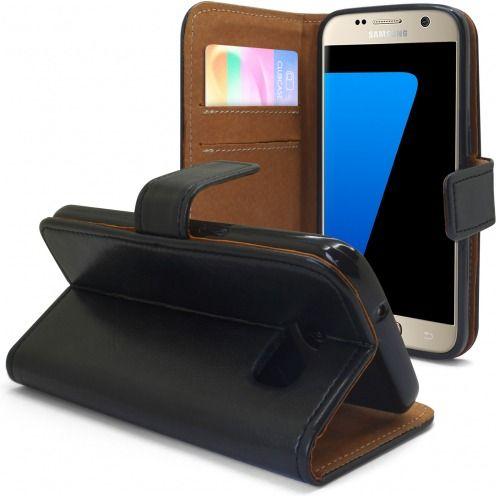 Etui Italia Folio Stand Samsung Galaxy S7 Cuir Véritable Bovin Noir
