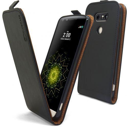 Etui Italia Flip LG G5 Cuir Véritable Bovin Noir