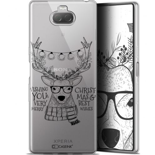 """Coque Gel Sony Xperia 10 (6"""") Extra Fine Noël 2017 - Cerf Hipster"""