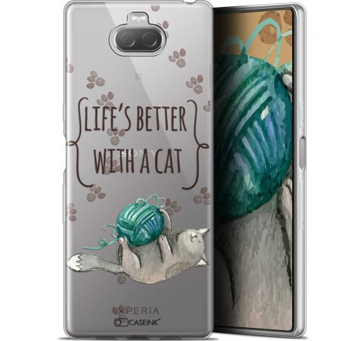"Coque Gel Sony Xperia 10 (6"") Extra Fine Quote - Life's Better With a Cat"