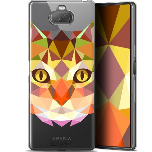 "Coque Gel Sony Xperia 10 (6"") Extra Fine Polygon Animals - Chat"