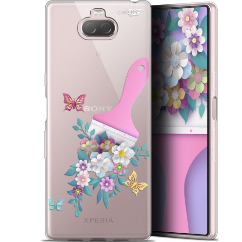 "Coque Gel Sony Xperia 10 Plus (6.5"") Extra Fine Motif - Pinceau à Fleurs"