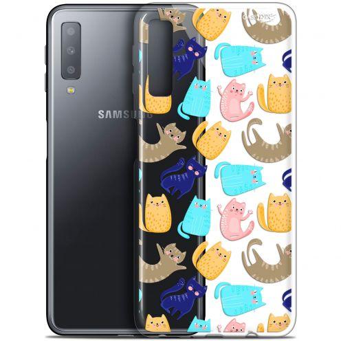 """Coque Gel Samsung Galaxy A7 2018 (A750) (6"""") Extra Fine Motif - Chat Danse"""