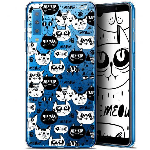 "Coque Gel Samsung Galaxy A7 2018 (A750) (6"") Extra Fine Motif -  Chat Noir Chat Blanc"