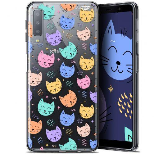 "Coque Gel Samsung Galaxy A7 2018 (A750) (6"") Extra Fine Motif -  Chat Dormant"
