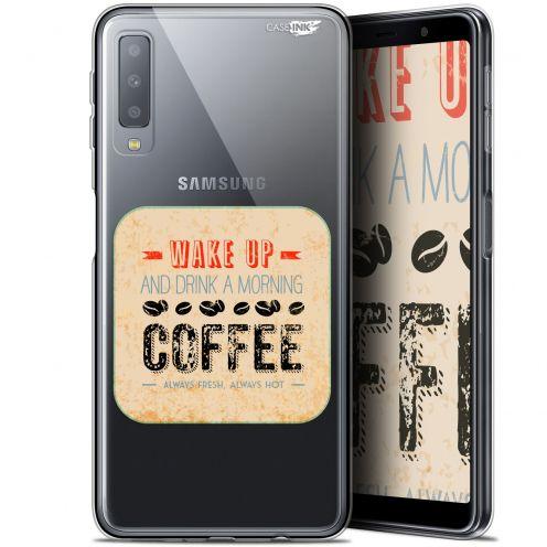 "Coque Gel Samsung Galaxy A7 2018 (A750) (6"") Extra Fine Motif -  Wake Up With Coffee"