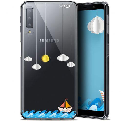 "Coque Gel Samsung Galaxy A7 2018 (A750) (6"") Extra Fine Motif -  Petit Bateau en Mer"