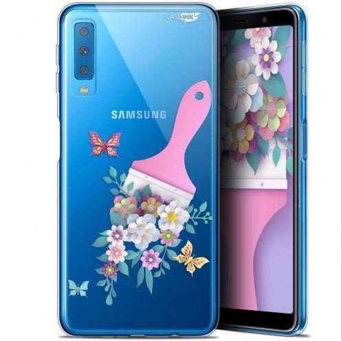 "Coque Gel Samsung Galaxy A7 2018 (A750) (6"") Extra Fine Motif -  Pinceau à Fleurs"