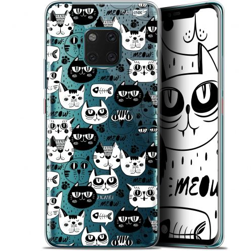 "Coque Gel Huawei Mate 20 Pro (6.39"") Extra Fine Motif - Chat Noir Chat Blanc"