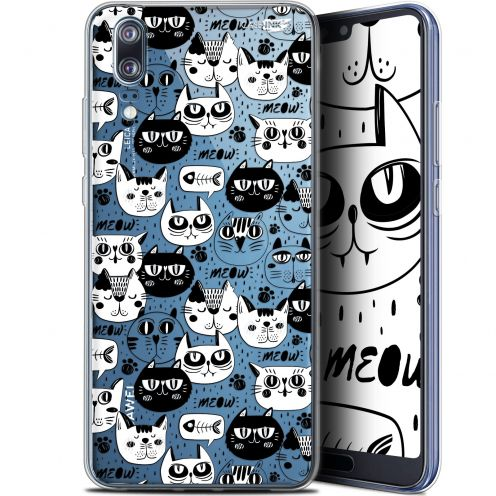 "Coque Gel Huawei P20 (5.8"") Extra Fine Motif - Chat Noir Chat Blanc"