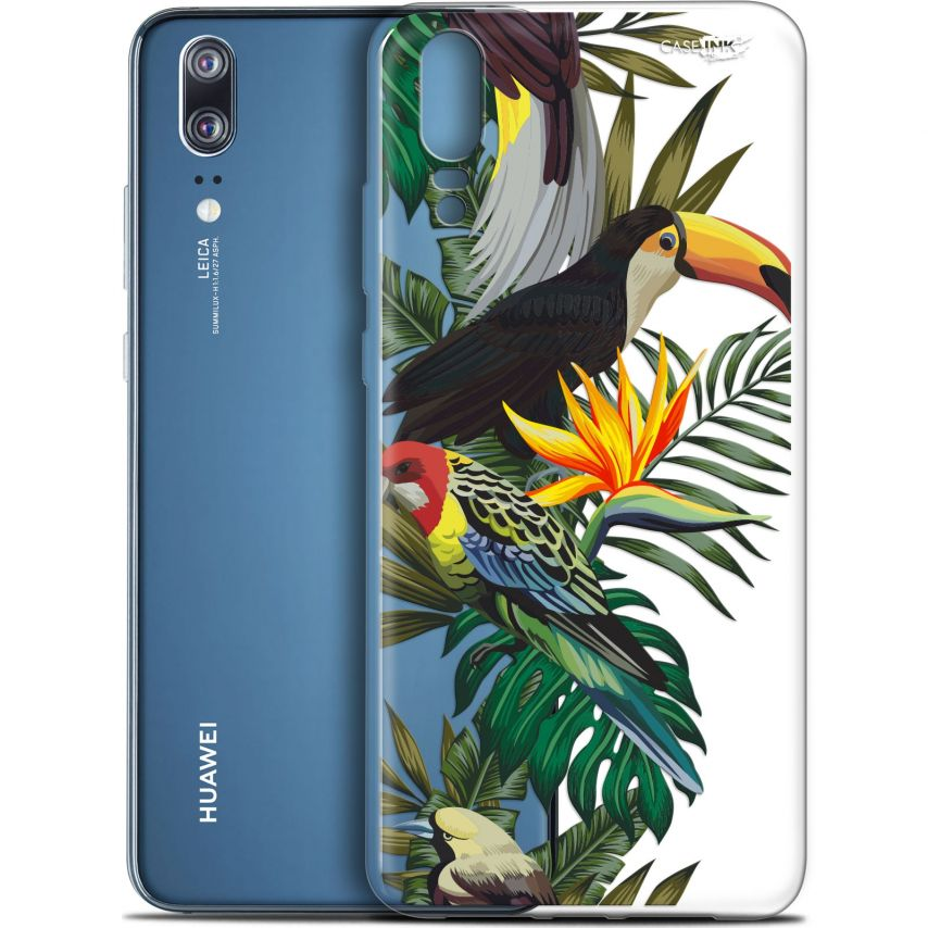 "Coque Gel Huawei P20 (5.8"") Extra Fine Motif - Toucan Tropical"