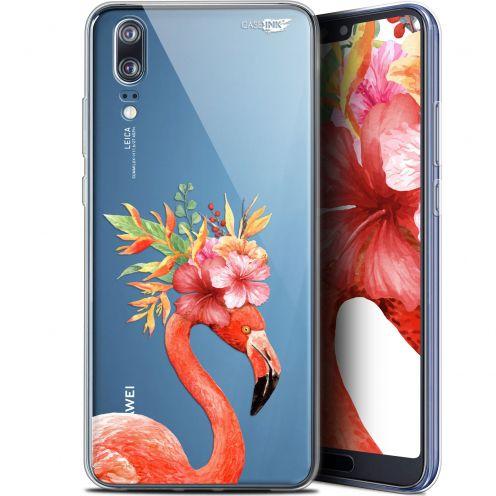 "Coque Gel Huawei P20 (5.8"") Extra Fine Motif -  Flamant Rose Fleuri"