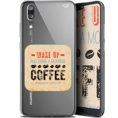 "Coque Gel Huawei P20 (5.8"") Extra Fine Motif - Wake Up With Coffee"