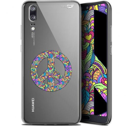 """Coque Gel Huawei P20 (5.8"""") Extra Fine Motif -  Peace And Love"""