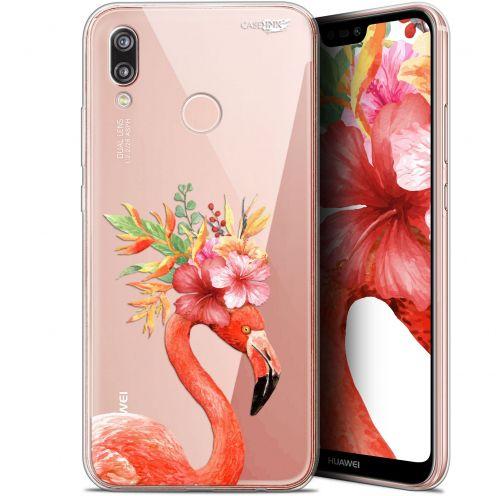 "Coque Gel Huawei P20 Lite (5.84"") Extra Fine Motif - Flamant Rose Fleuri"