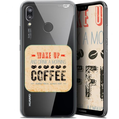 """Coque Gel Huawei P20 Lite (5.84"""") Extra Fine Motif -  Wake Up With Coffee"""