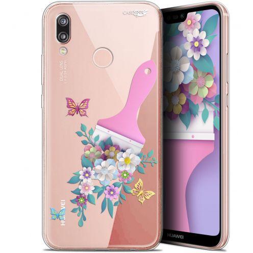 "Coque Gel Huawei P20 Lite (5.84"") Extra Fine Motif - Pinceau à Fleurs"