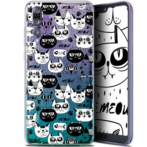 "Coque Gel Huawei P20 Pro (6.1"") Extra Fine Motif -  Chat Noir Chat Blanc"