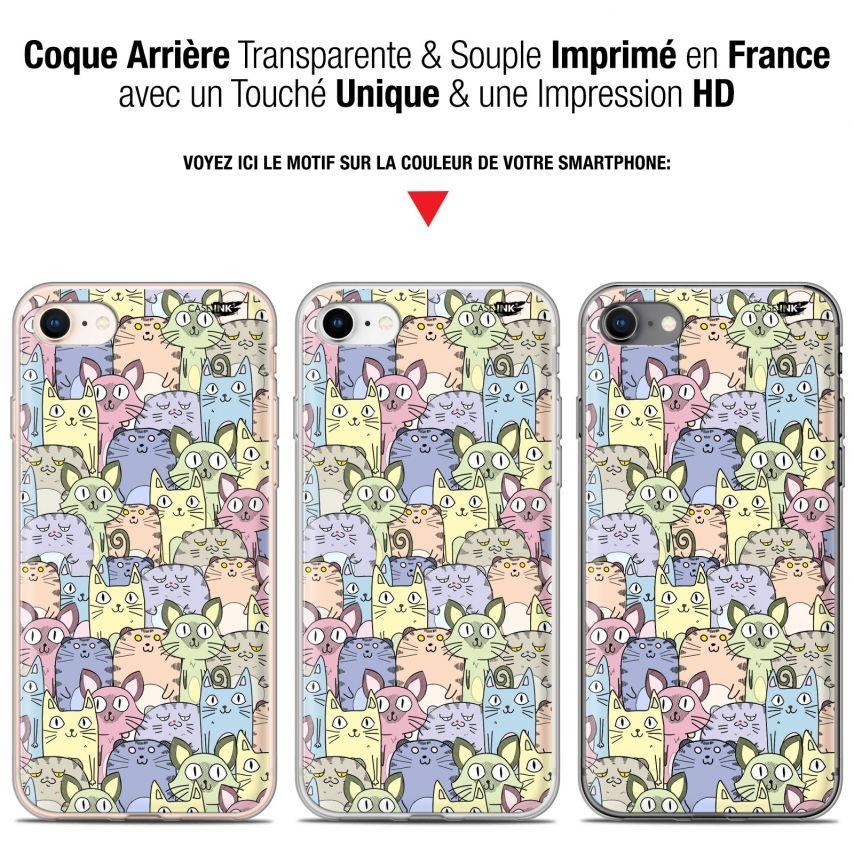 "Coque Gel Apple iPhone 7/8 (4.7"") Extra Fine Motif - Foule de Chats"