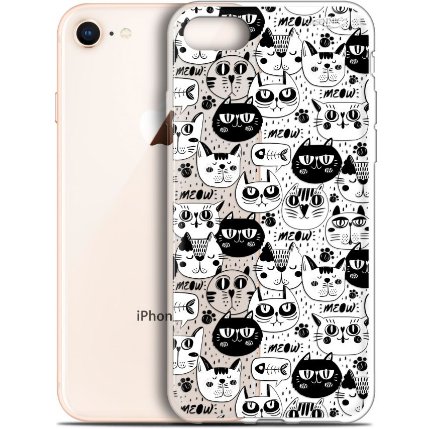 "Coque Gel Apple iPhone 7/8 (4.7"") Extra Fine Motif - Chat Noir Chat Blanc"