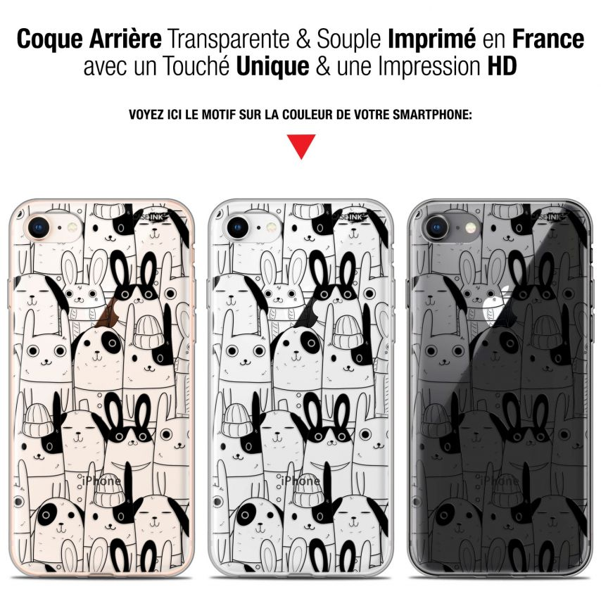 "Coque Gel Apple iPhone 7/8 (4.7"") Extra Fine Motif - Lapin Noir"