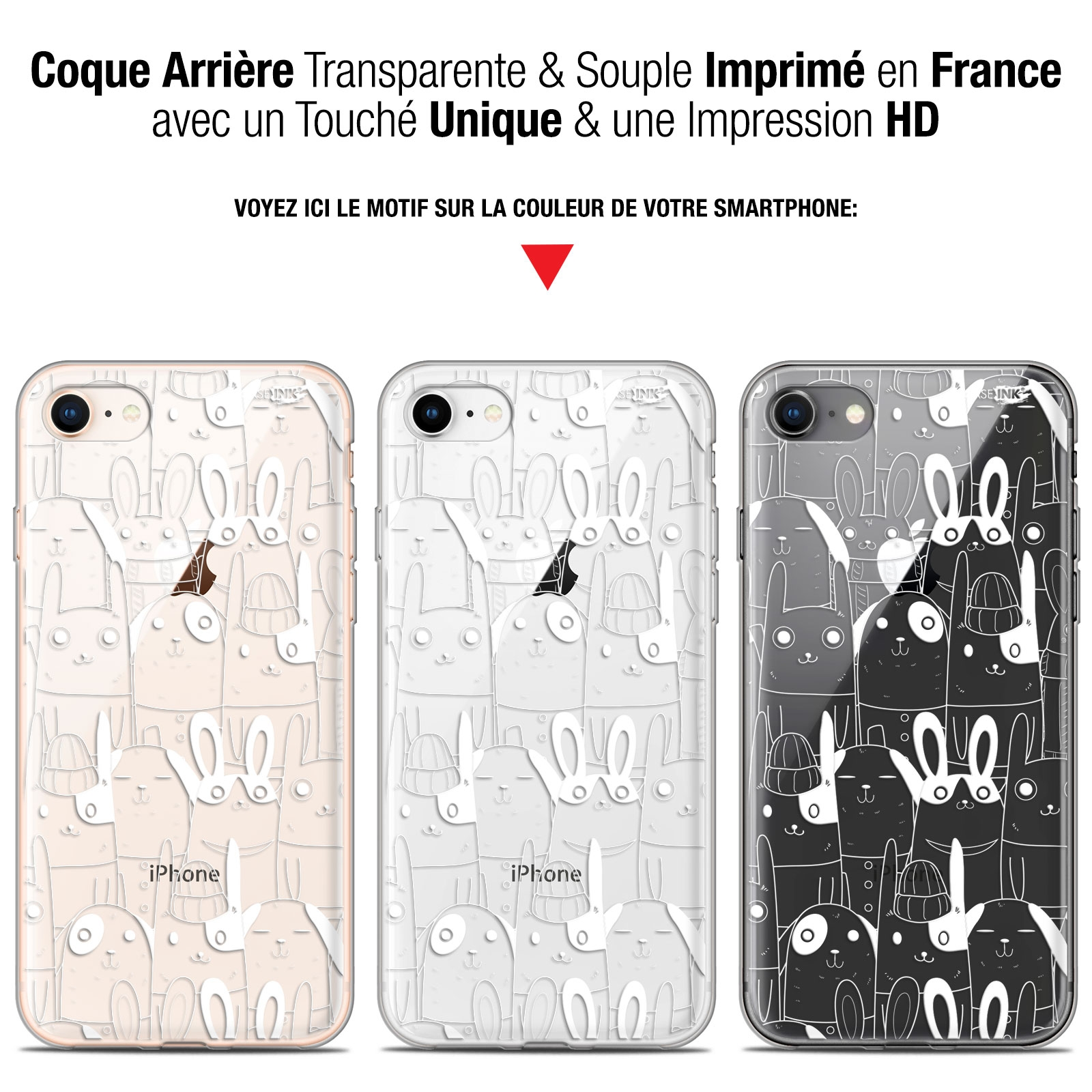 coque gel apple iphone 7 8 47 extra fine motif lapin blanc