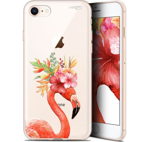"""Coque Gel Apple iPhone 7/8 (4.7"""") Extra Fine Motif - Flamant Rose Fleuri"""
