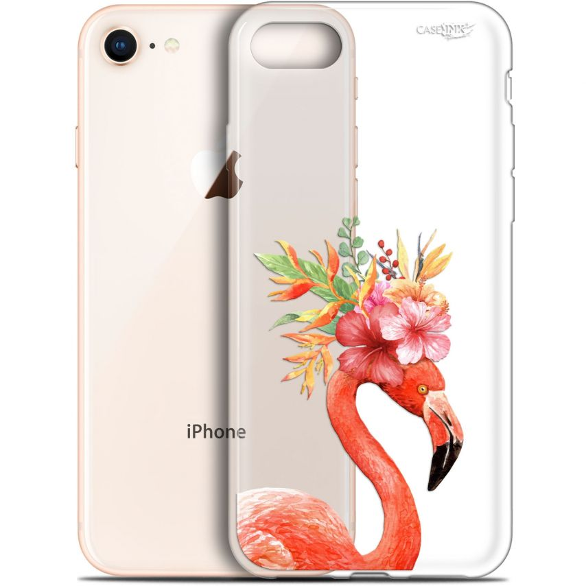 "Coque Gel Apple iPhone 7/8 (4.7"") Extra Fine Motif - Flamant Rose Fleuri"