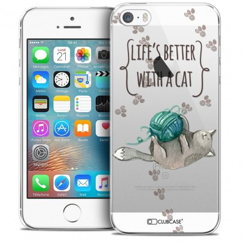 Coque Crystal iPhone 5/5s/SE Extra Fine Quote - Life's Better With a Cat