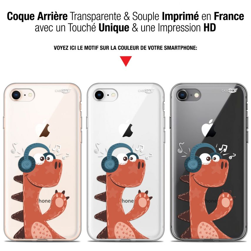 "Coque Gel Apple iPhone 7/8 (4.7"") Extra Fine Motif - Sketchy Dinausaure"