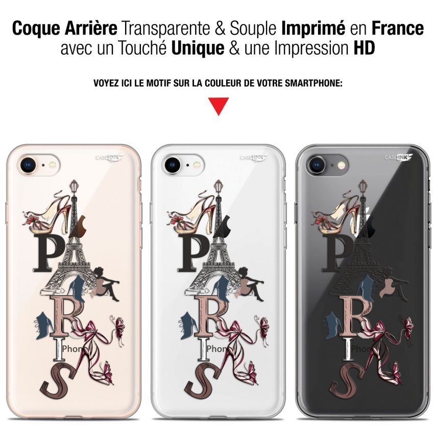 "Coque Gel Apple iPhone 7/8 (4.7"") Extra Fine Motif - Stylish Paris"
