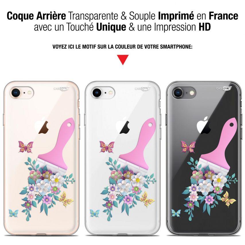 "Coque Gel Apple iPhone 7/8 (4.7"") Extra Fine Motif - Pinceau à Fleurs"